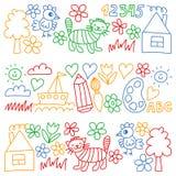 Kindergartenmuster, gezogene Kinder arbeiten Elemente Muster, Gekritzelzeichnung, die Vektorillustration im Garten, bunt vektor abbildung