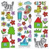 Kindergartenmuster, gezogene Kinder arbeiten Elemente Muster, Gekritzelzeichnung, die Vektorillustration im Garten, bunt rahmen stock abbildung