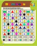Kindergartensymbolarbeit Geometrische Formen Sudoku f?r Kinder mit bunten geometrischen Zahlen Spiel f?r Vorschulkinder, Ausbildu vektor abbildung