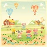 Kindergartentiere in der Landschaft. Lizenzfreie Stockbilder