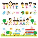 Kindergartners and kindergarten teachers, daycare. Kindergartners and kindergarten teachers, nursery school, daycare, file stock illustration