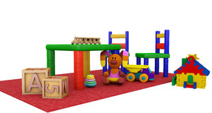 Kindergaten play toys on a red mat Royalty Free Stock Photography