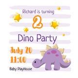 Kindergeburtstagseinladungs-Schablonendesign Dino-Partei für ein Baby stock abbildung
