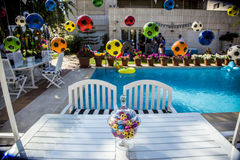 Kindergeburtstagsfeier-Fußballthema Stockfotos