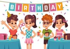 Kindergeburtstagsfeier Kinder, die Jahrestag feiern Vector Geburtstagshintergrund mit Karikaturjungen und -mädchen lizenzfreie abbildung