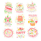 Kindergeburtstagsfeier-Unterhaltung Promo-Zeichen eingestellt von den bunten Vektor-Design-Schablonen mit festlichen Symbolen Stockfotografie
