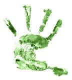 Kindergrüner Handdruck lokalisiert auf Weiß Stockbilder