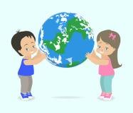 Kindergriff-Planet Erde Auch im corel abgehobenen Betrag stock abbildung
