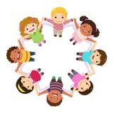 Kinderhändchenhalten in einem Kreis stock abbildung