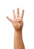 Kinderhand, welche die vier Finger zeigt Lizenzfreies Stockfoto