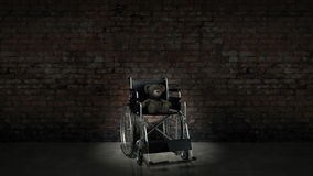 Kinderhandikapkonzept: brauner Teddybär im Rollstuhl Lizenzfreie Stockbilder