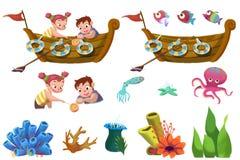 Kinderillustrations-Element-Satz: Seeleben-Elemente Das Boot, der Bruder und Schwester, der Fisch, die Koralle Stockbild