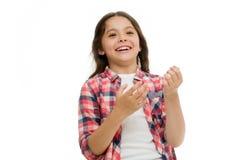 Kinderjaren en gelukconcept Jong geitje met vrolijk gezicht en briljante glimlach die op wit wordt geïsoleerd Emotiesconcept opre royalty-vrije stock afbeeldingen