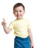 Kinderjunge, der das Nummer Eins mit der Hand zeigt Stockbild