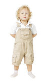 Kinderjunge lokalisiert über weißem Hintergrund, lächelndes Kind Stockbilder