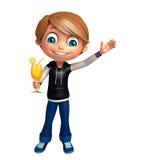 Kinderjunge mit Juice Glass Lizenzfreie Stockbilder