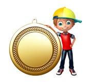 Kinderjunge mit Medaille Lizenzfreies Stockfoto
