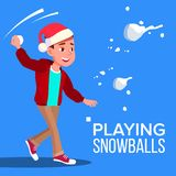 Kinderjunge in Santa Hat Playing Snowballs Vector Abbildung stock abbildung