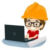 Kinderjungen-Ingenieur, der einen Laptop verwendet lizenzfreie abbildung