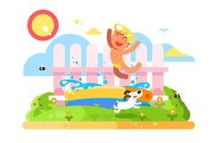 Kinderjungenspiel im Gartenpool stock abbildung