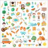 Kinderkampierende Karikatur-Vektorillustration Satz Kinderlagerelemente und Ikonen, cartooning Illustrationen über Kindheit Stockfotografie