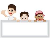 Kinderkarikatur mit leerem Zeichen Lizenzfreie Stockfotografie