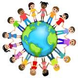 Kinderkinderhand um die Welt lokalisiert stock abbildung