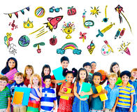 Kinderkindheits-Freizeitbetätigungs-Bildungs-Konzept stock abbildung
