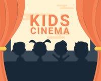 Kinderkinoschwarzweiss-Schattenbild und -text Stockbilder
