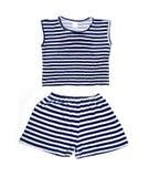 Kinderkleidung - gestreiftes Hemd und kurze Hosen Lizenzfreie Stockfotos