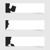 Kinderkopf mit weißer Fahnenkunstillustration Stockfotos