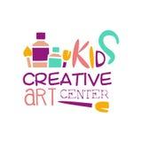 Kinderkreative Klassen-Schablonen-fördernde Logo With Paintbrush Symbols Of-Kunst und -kreativität lizenzfreie abbildung