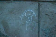 Kinderkreide-Zeichnungen Asphalt Concrete Outdoors Public Urban Lizenzfreie Stockbilder