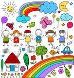 Kinderlijke geplaatste tekeningen Stock Fotografie