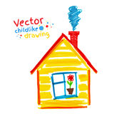 Kinderlijke tekening van huis Royalty-vrije Stock Afbeelding