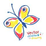 Kinderlijke tekening van vlinder Royalty-vrije Stock Foto