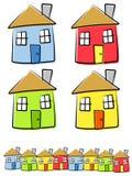 Kinderlijke Tekeningen van Huizen Royalty-vrije Stock Afbeelding