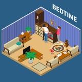 Kindermädchen-Child Bedtime Isometric-Zusammensetzung lizenzfreie abbildung
