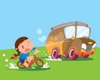 Kindermädchen-Fahrfahrrad verspannt stock abbildung
