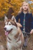 Kindermädchen geht mit nettem heiserem Hund Lizenzfreie Stockfotografie