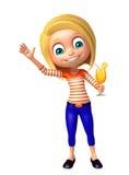 Kindermädchen mit Juice Glass Lizenzfreies Stockbild