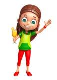 Kindermädchen mit Juice Glass Lizenzfreie Stockfotos