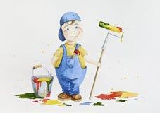 Kindermaler, der erwachsene Arbeit mit einer Rolle und einem Malerpinsel erledigt Stockbild
