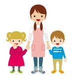 Kindermeisje en twee kinderen Stock Foto's