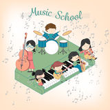 Kindermusikschulkomposition mit den Jungen und Mädchen, die viele Instrumente spielen vektor abbildung