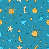 Kindernahtloses Muster des nächtlichen Himmels mit Sonne, Mond und Sternen Lizenzfreies Stockbild