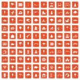100 Kinderparkikonen stellten Schmutz orange ein stock abbildung