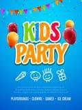 Kinderparteieinladungs-Designschablone Kind, das Spaßfliegerplakat-Fahnendekoration für Kinder feiert stock abbildung