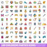 100 Kinderpartyikonen eingestellt, Karikaturart Stockfotografie