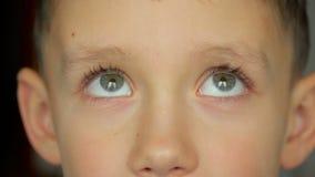 Kinderporträt, Junge betrachtet die Kamera stock footage